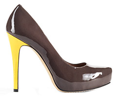 Vince Camuto Deric Pump - Brown with Yellow Heel