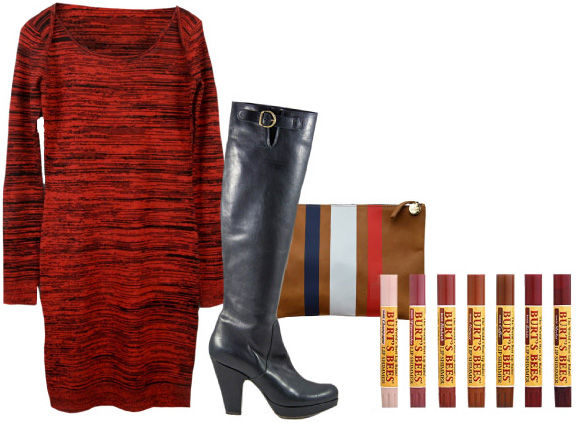 Rebecca Minkoff Essef Dress, Fiorentini and Baker Nocolle-Nacho Boots, Clare Vivier Clutch, & Burt's Bees Lip Shimmer